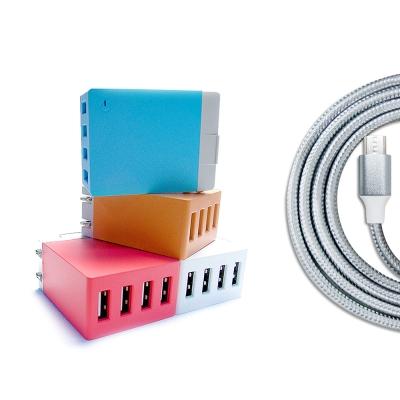 QLA Micro USB快充組合:4USB旅充+2.5A銀色傳輸充電線1M