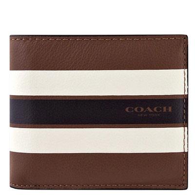 COACH-白色橫紋皮革壓紋雙摺十卡中夾
