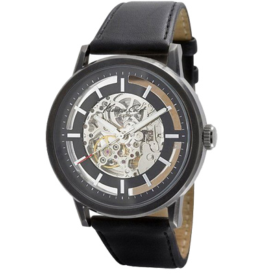 Kenneth Cole都會時尚質感黑鏤空機械錶-黑/43mm