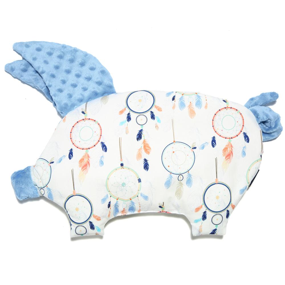 La Millou 豆豆小豬枕嬰兒枕安撫玩具-夢遊仙境白底(蒙地卡羅藍)