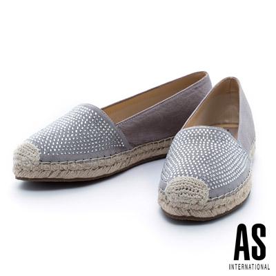 AS 異材質拼接晶鑽羊皮草編厚底休閒鞋-銀