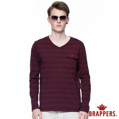 BRAPPERS 男款 男用條紋肩剪接口袋長袖上衣-酒紅
