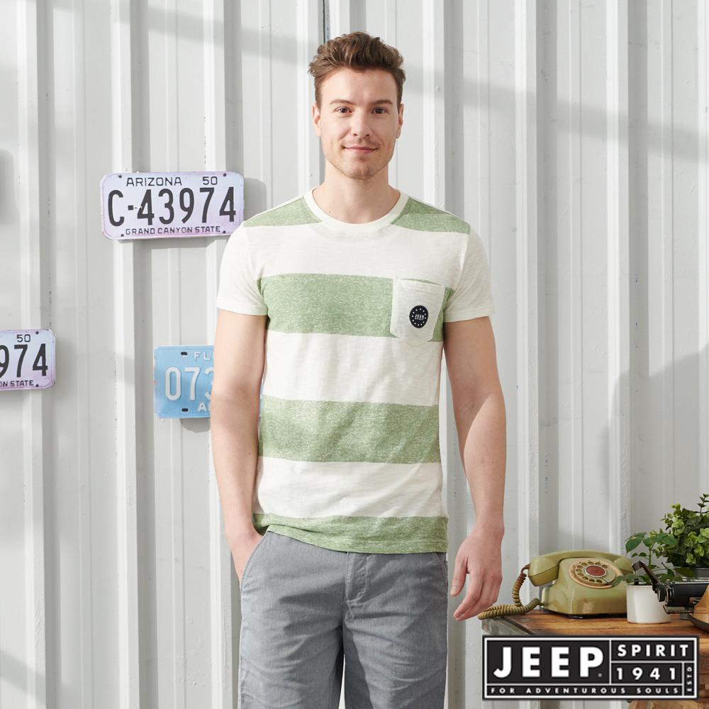 JEEP 輕透條紋短袖TEE-葉綠色