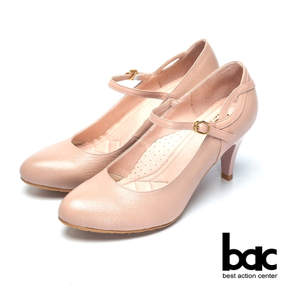 bac上班甜心 精緻典雅瑪莉珍高跟鞋-粉膚