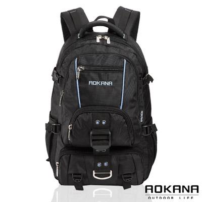 AOKANA奧卡納 台灣釦具 輕量防潑水護脊紓壓機能後背包(藍/黑)68-074