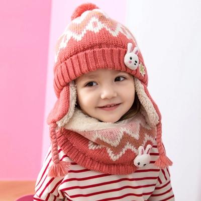 雪花兔兔 護耳 兒童毛絨帽+圍脖2件組-二色
