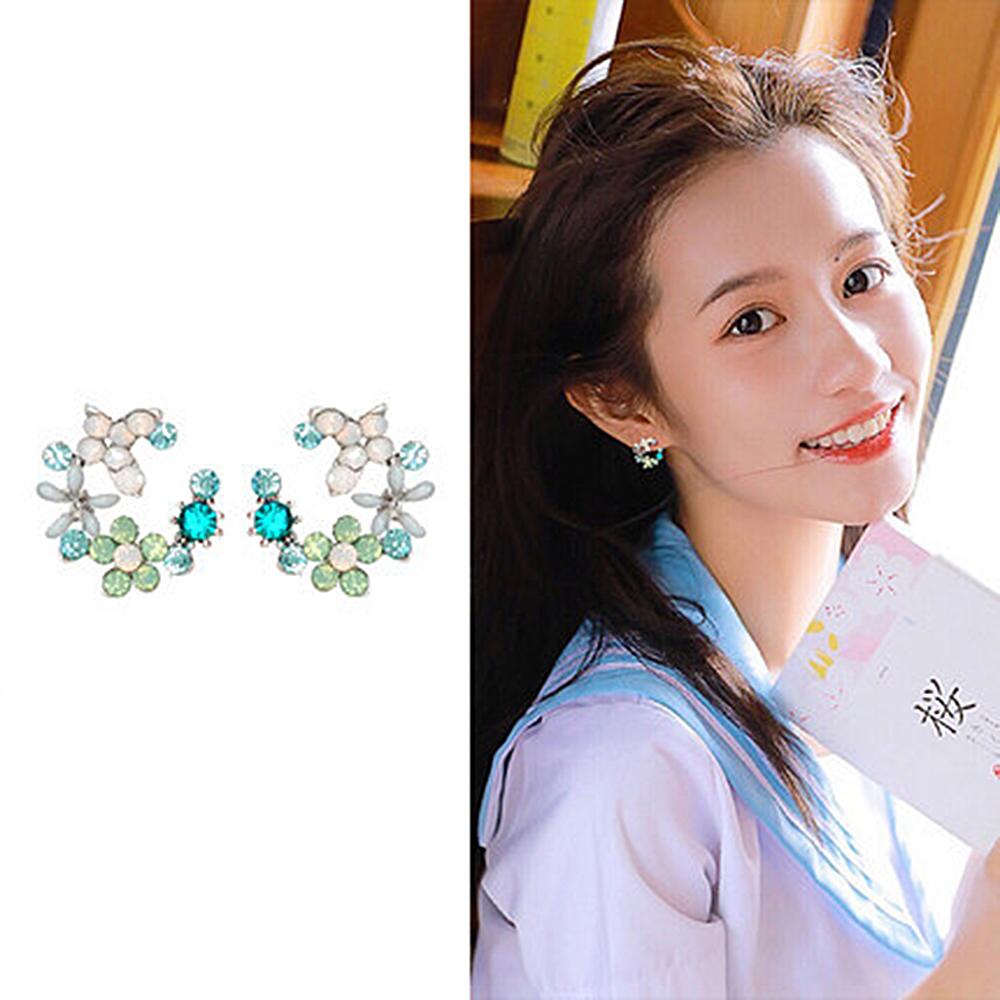 梨花HaNA 韓國925銀半月花飾珠寶花園呢喃耳環