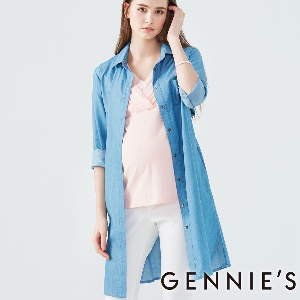 Gennies奇妮-長版綁帶牛仔襯衫-(T1F09-淺藍)