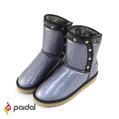 Paidal閃鑽拼接星星鉚釘防潑水短筒雪靴-星空黑
