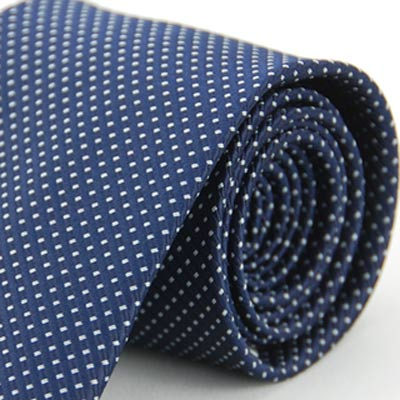 Alpaca 深藍底白雙點領帶