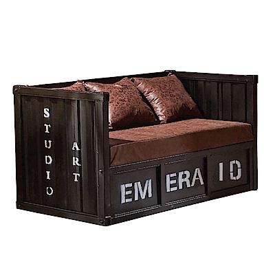 品家居 瑟威工業風皮革沙發雙人座(二色可選)-120x65x80cm免組