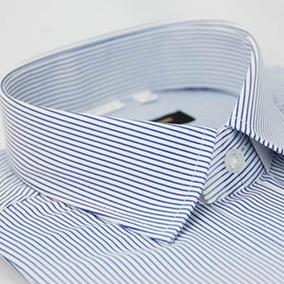 金‧安德森 藍色條紋窄版短袖襯衫