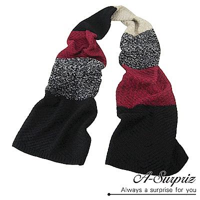 A-Surpriz 韓風多色編織拼接加長厚圍巾(紅黑米)