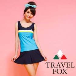 夏之戀TRAVEL FOX 運動風長版兩件式泳裝 (M~2L)