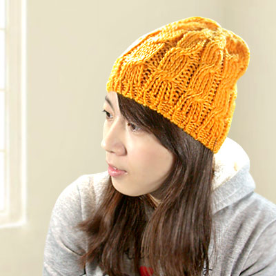 Decoy橘調波紋 彈性手勾毛線帽