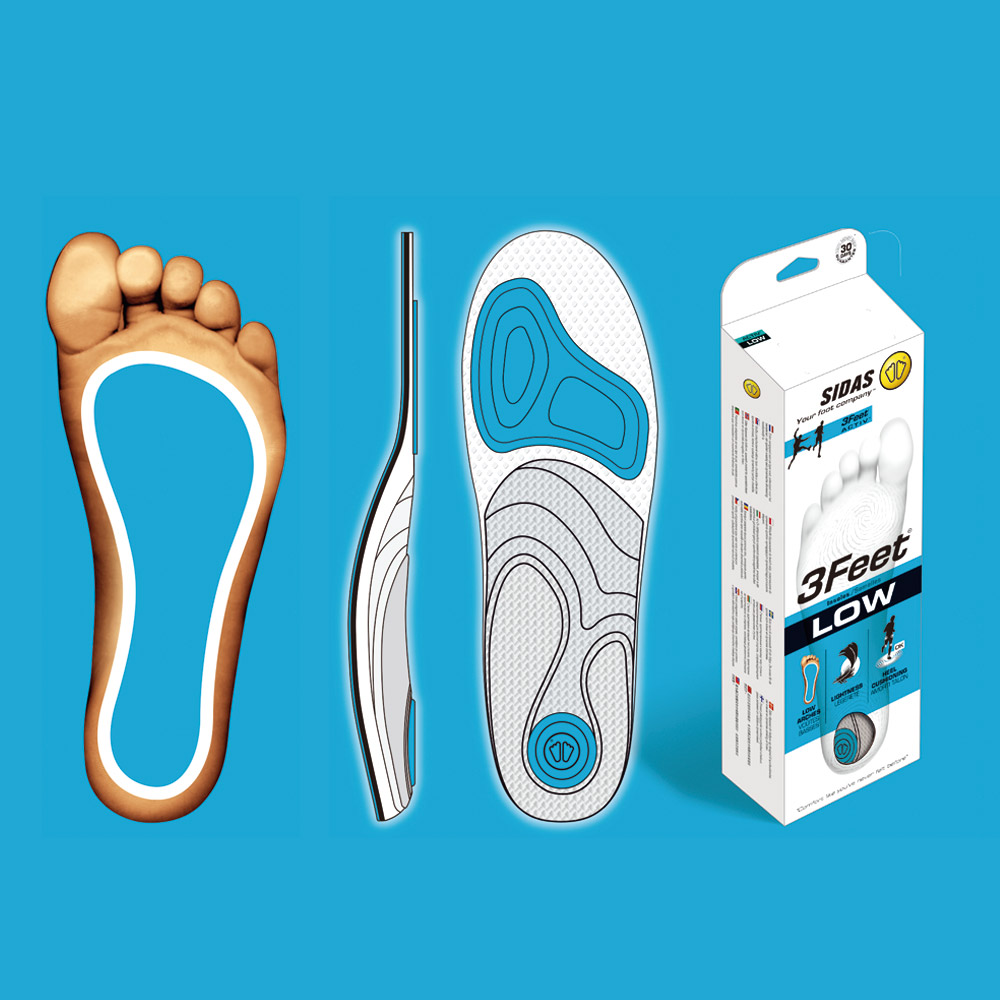 SIDAS 3feet 頂級運動鞋墊(緩震步態、舒適支撐) - 低足弓適用