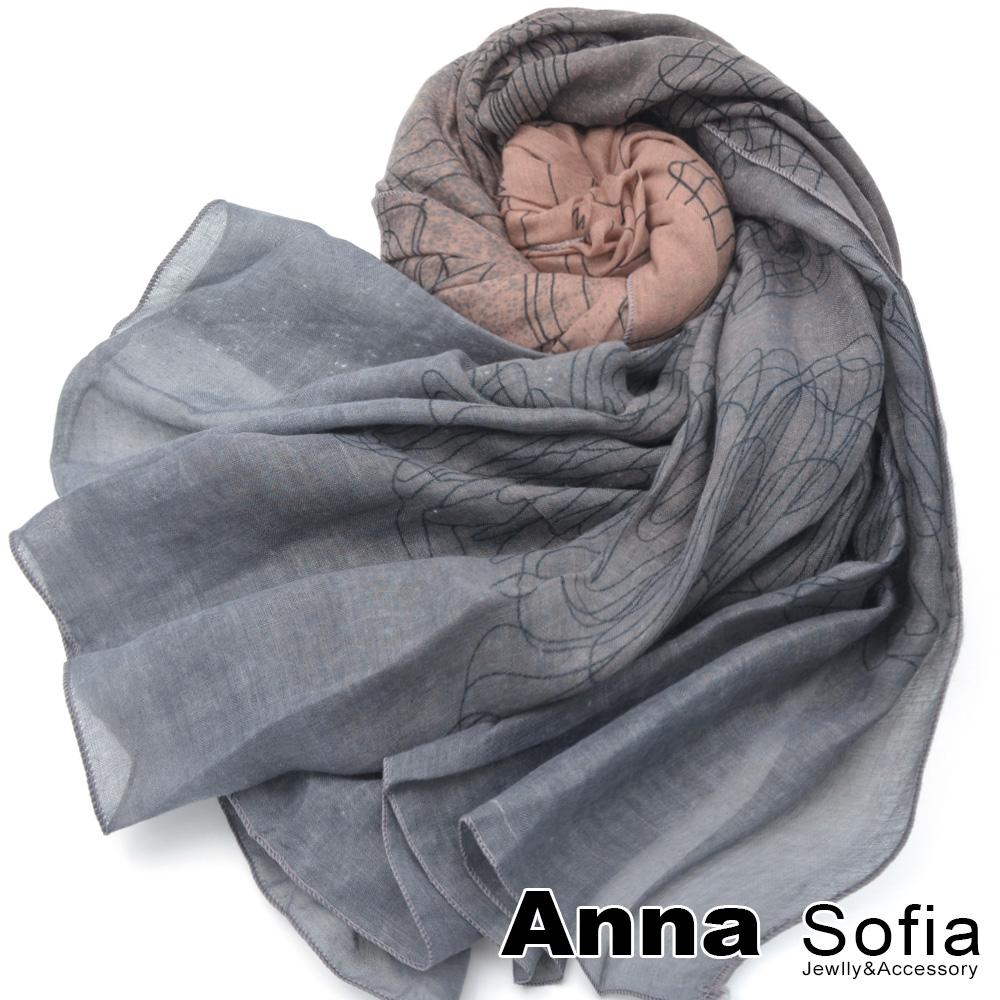 【2件450】AnnaSofia 灑點舞線 拷克邊韓國棉圍巾披肩(藕粉灰系)