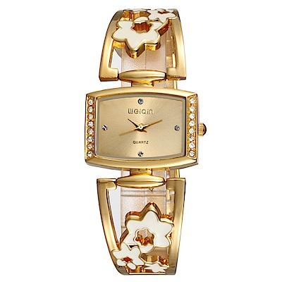 Mirabelle 鏤空花漾 方型點鑽金屬弧形錶 金繽色 30 mm
