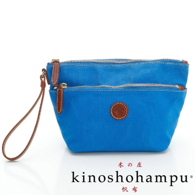 kinoshohampu 雙拉鍊梯形手拎包 藍X咖