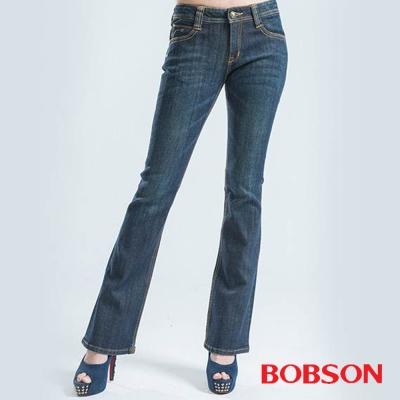 BOBSON-女款V型鑽飾小喇叭褲