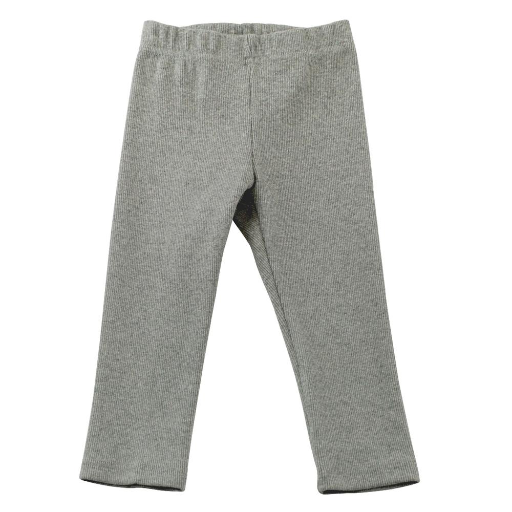 愛的世界 SUPERMINI 羅紋鬆緊帶緊身長褲-灰色/6~8歲