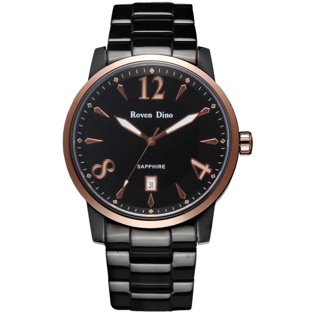 Roven Dino 刀鋒對決 頂尖時尚指針鋼帶腕錶-黑面金x大 /43mm