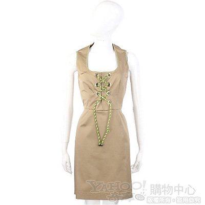 MOSCHINO 卡其色螢光綁帶設計飾無袖洋裝