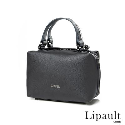 法國時尚Lipault 優雅皮革方形保齡球包XS(煙燻灰)