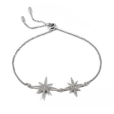 apm MONACO法國精品珠寶 閃耀銀色雙繁星鑲鋯可調整手鍊手環