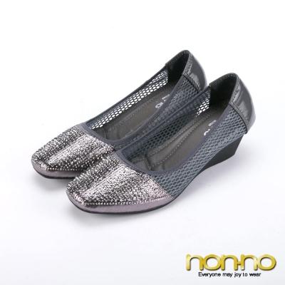 nonno-閃耀小黑鑽-縷空楔型娃娃鞋-灰