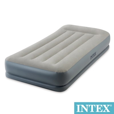 INTEX舒適雙層內建電動幫浦充氣床墊fiber tech有頭枕-寬99cm(64115)