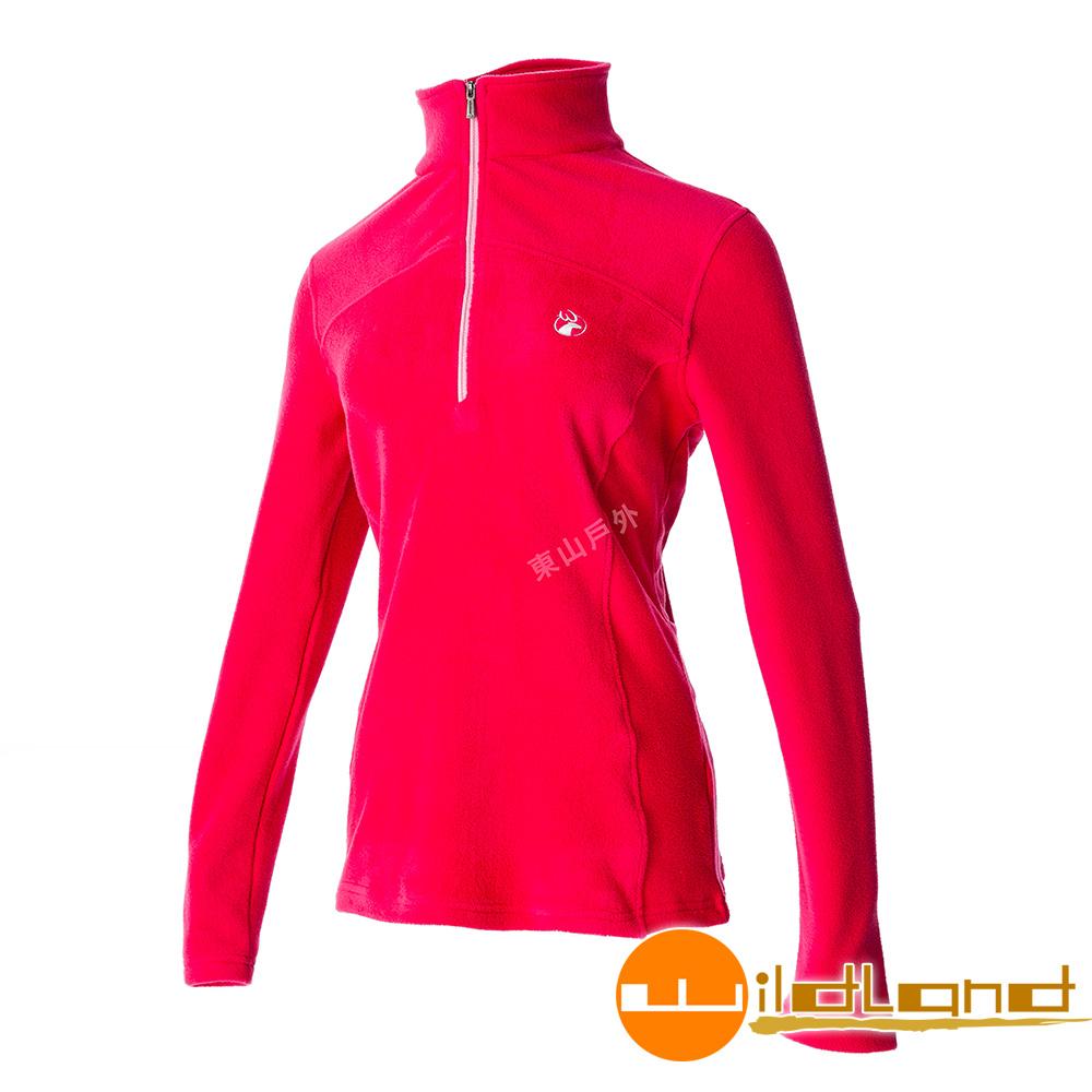 Wildland荒野 0A52501-26芙蓉紅 女彈性PILE保暖衣