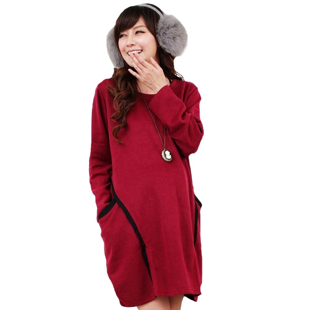 【Keep Chic孕婦裝】簡約素面休閒大口袋洋裝(共二色)