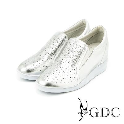 GDC-閃亮水鑽星星沖孔真皮內增高休閒懶人鞋-銀色