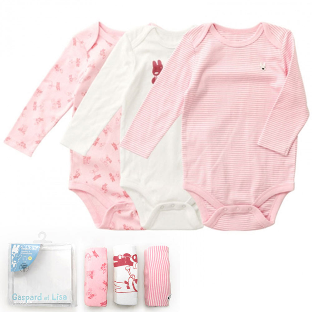 GL法國 優質萌系童趣粉白色長袖包屁衣連身衣3件組