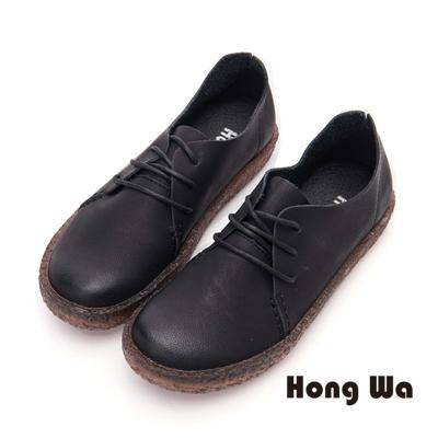 Hong Wa 綁帶款牛皮寬楦包鞋- 黑
