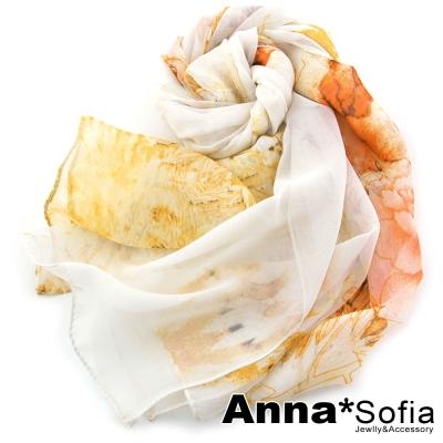 AnnaSofia 馨香牡丹款 雪紡長絲巾(米黃系)