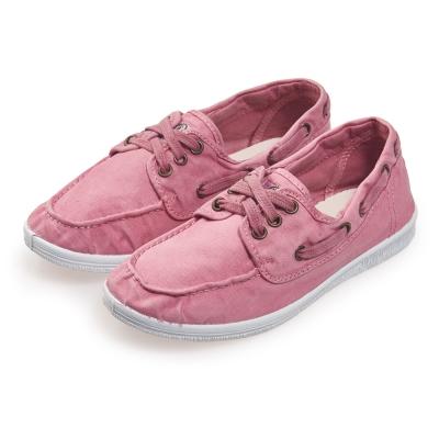 (女)Natural World 西班牙休閒鞋 刷色3孔綁帶款*淺粉色
