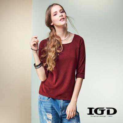 IGD英格麗 彈性剪接寬領七分袖上衣-暗紅