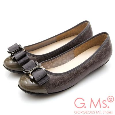 G.Ms. MIT系列-牛皮拼接圓頭蝴蝶結娃娃鞋-深灰