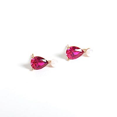 微醺禮物 正韓 鍍K金銀針 紅梨形鋯 連結迷你珍珠 可愛 簡約 亮眼 耳針 耳環