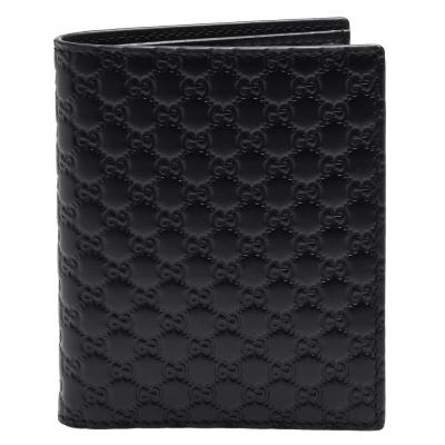 GUCCI 經典Guccissima壓紋牛皮直立折疊短夾(黑)