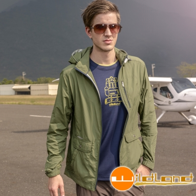 Wildland 荒野 0A31908-05灰綠色男 SUPPLEX抗UV連帽外套
