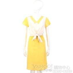 San Andres 黃白拼接綁帶短袖洋裝