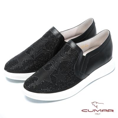 CUMAR時尚樂活 星形水鑽裝飾樂福鞋-黑色