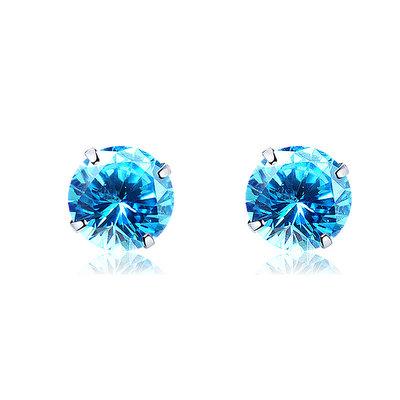 ACUBY 925純銀驚彩鋯石單鑽耳環/3mm海藍