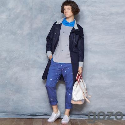gozo-飛行船刺繡側邊口袋造型長褲-共二色