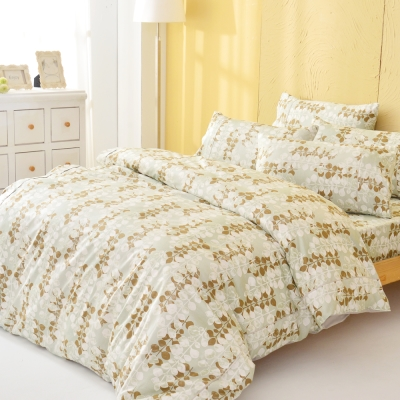 LAMINA 自然葉風-綠-精梳棉三件式床包組(單人)