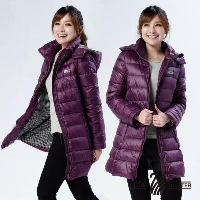 【遊遍天下】女款JIS90%羽絨防風防潑水顯瘦長版連帽羽絨外套G0332暗紫
