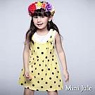Mini Jule 童裝-洋裝 大圓點綁帶假兩件無袖洋裝(黃)